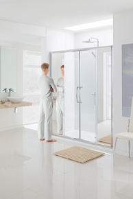 Lakes Mirror Collection Semi-Frameless Double Slider Door