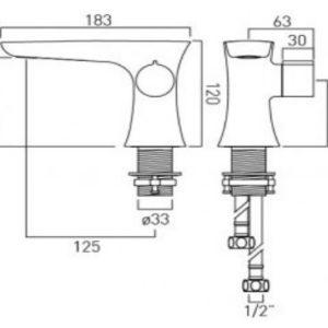 ALT-100-SB-CP Vado Altitude Progressive Mono Basin Mixer Technical Drawing