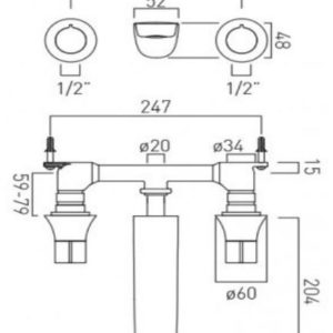 ALT-109-2-CP Vado Altitude 3 Hole Basin Mixer Wall Mounted Technical Drawing