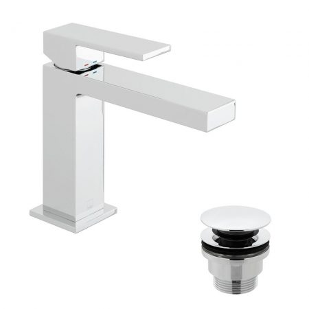 NOT-200-CC-CP Vado Notion Slimline Deck Mounted Single Lever Mono Basin Mixer With Universal Basin Waste