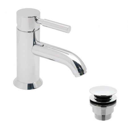 ORI-100-CC-CP Vado Origins Mono Basin Mixer Smooth Bodied Single Lever Deck Mounted With Universal Basin Waste
