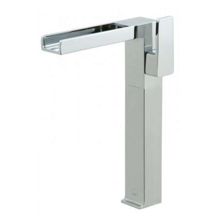 SYN-100E-SB-CP Vado Synergie Progressive Extended Mono Basin Mixer Single Lever Deck Mounted With Waterfall Spout