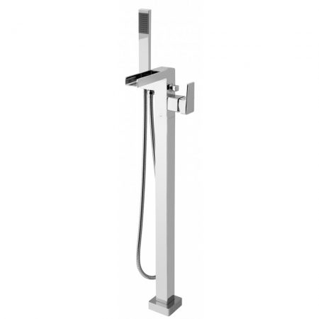 SYN-133+K-CP Vado Floor Mounted Single Lever Bath Shower Mixer With Waterfall Spout And Shower Kit
